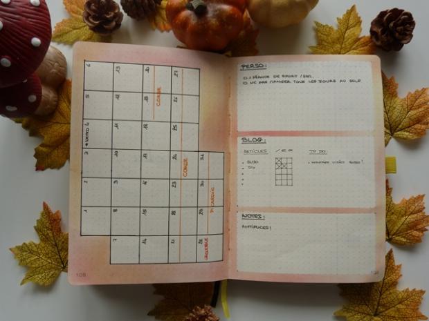 bullet journal monthly log spread automne autumn
