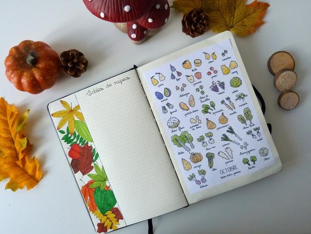bujo octobre automne nature couleurs